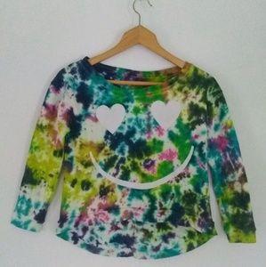 Happy Hippy Tie-dye Festival Cropped Sweater Top
